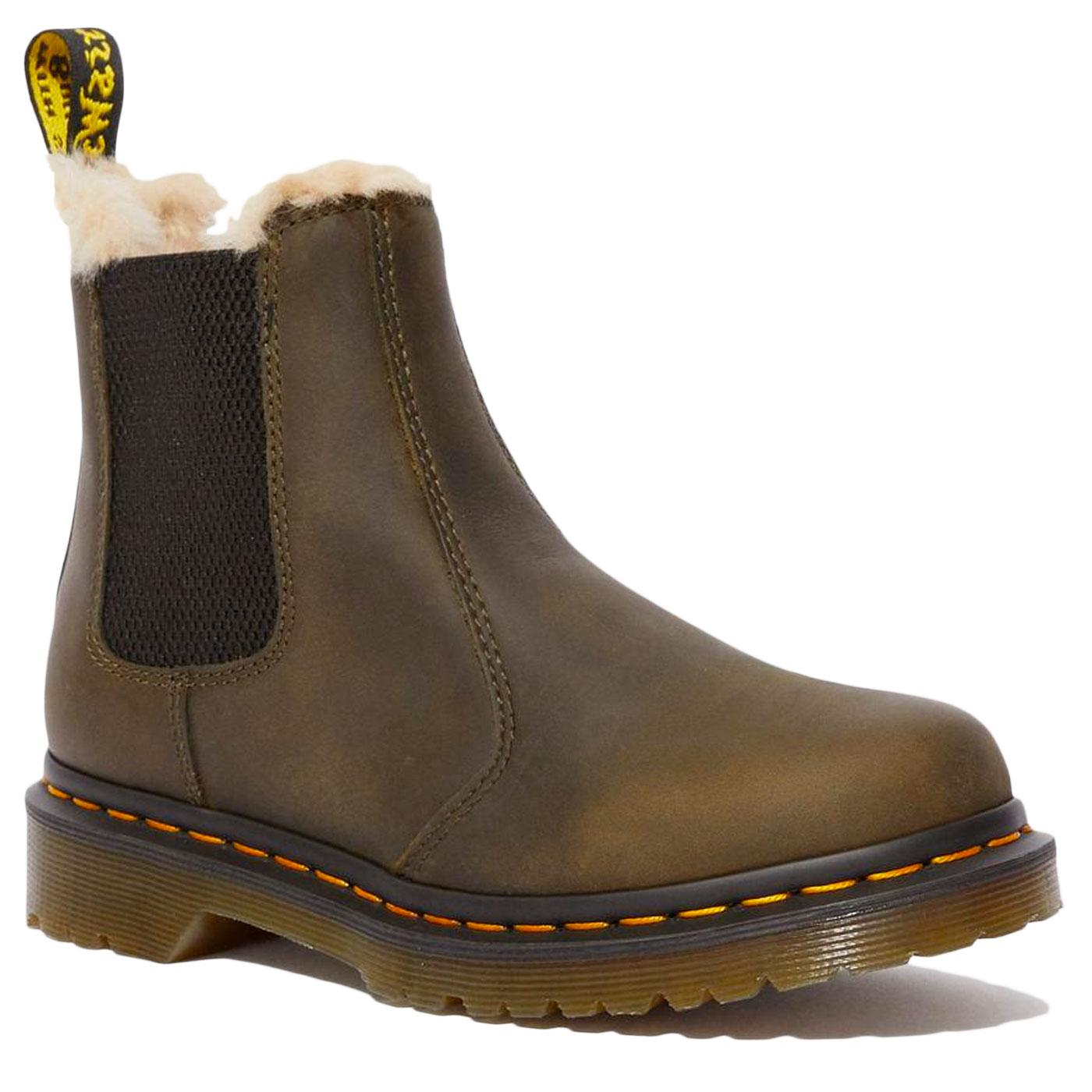 Leonore DR MARTENS Olive Fur Lined Ankle Boots