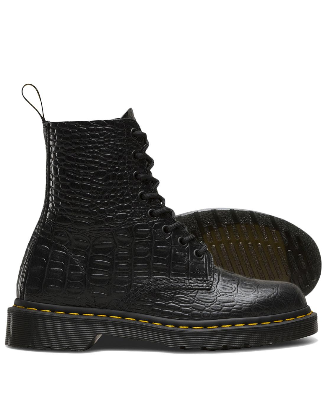 a855ff48b580ae DR MARTENS Pascal Croc Retro Faux Crocodile Stamp 8 Eyelet Boots