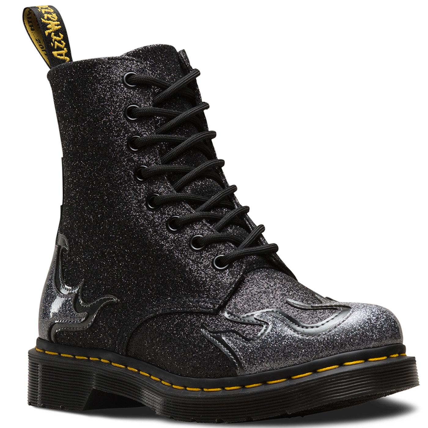 DR MARTENS 1460 Pascal Flame Glitter Boots PEWTER