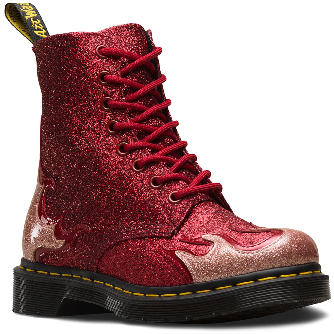 DR MARTENS 1460 Pascal Flame Glitter Boots (Red)