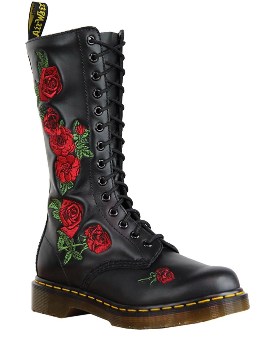 Vonda DR MARTENS Retro 70s 14 Eyelet Boots Black