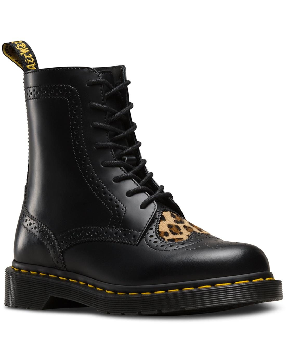 Bentley II Heart DR MARTENS Leopard Brogue Boots