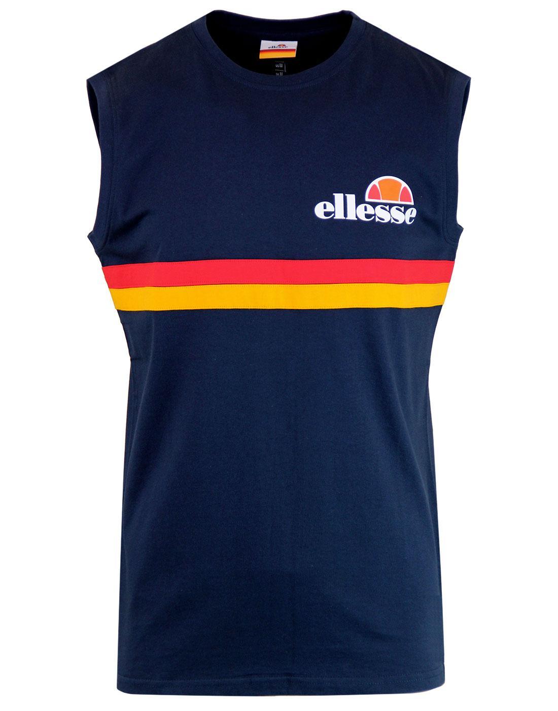Aversa ELLESSE Men's Retro 1980s Chest Stripe Vest