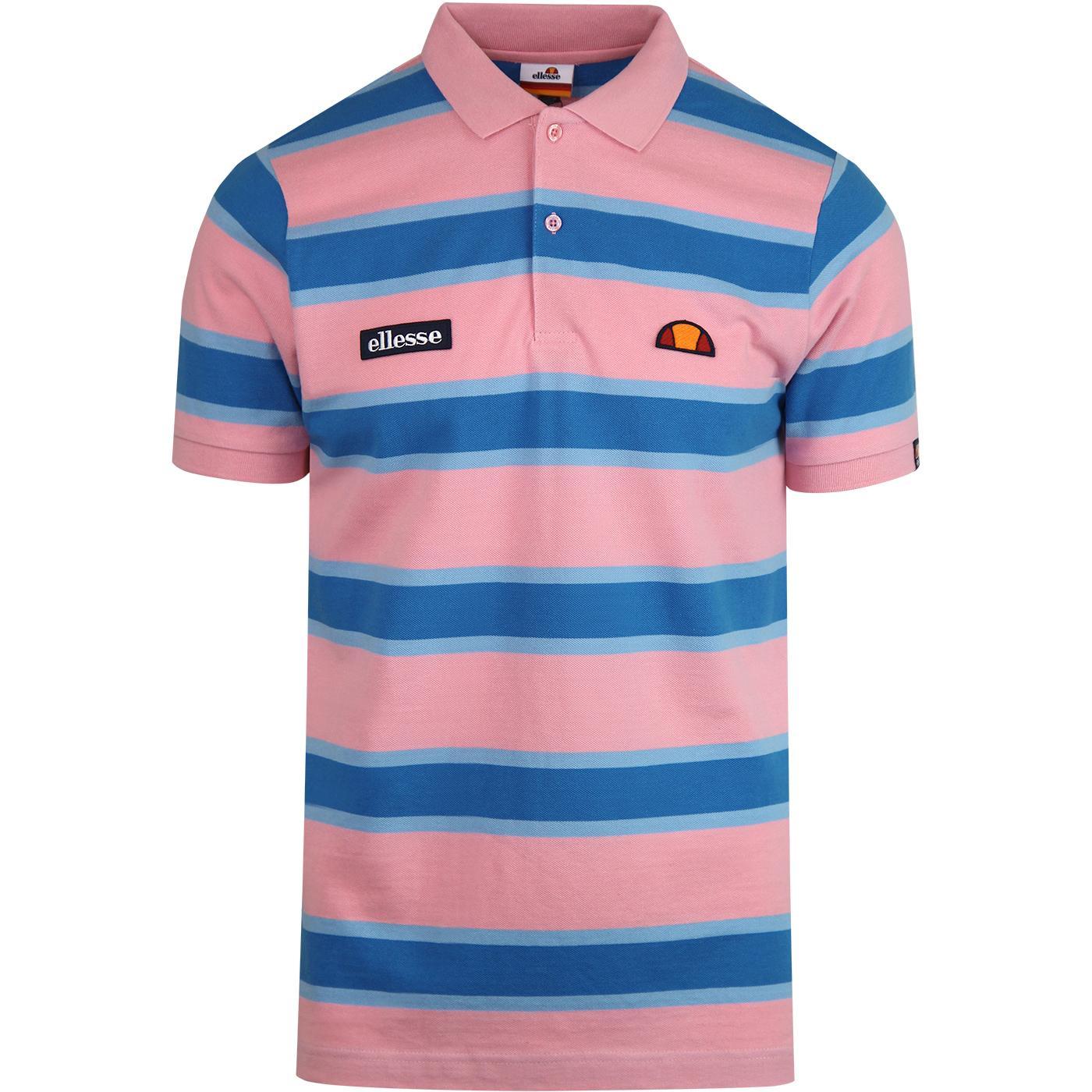 Marono ELLESSE Retro 80s Stripe Pique Polo (Pink)
