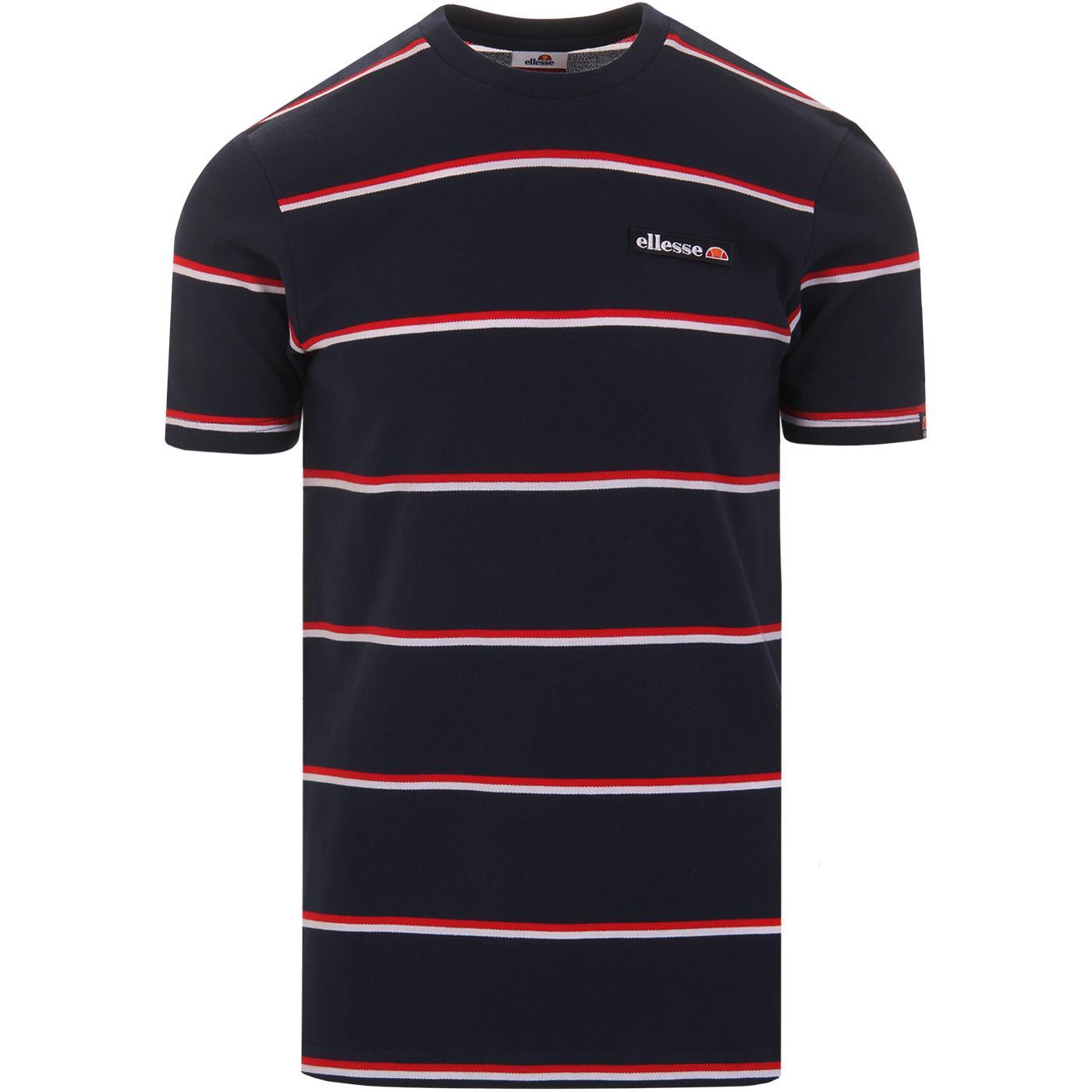 Mezzo ELLESSE Retro Mod Stripe Pique T-Shirt NAVY