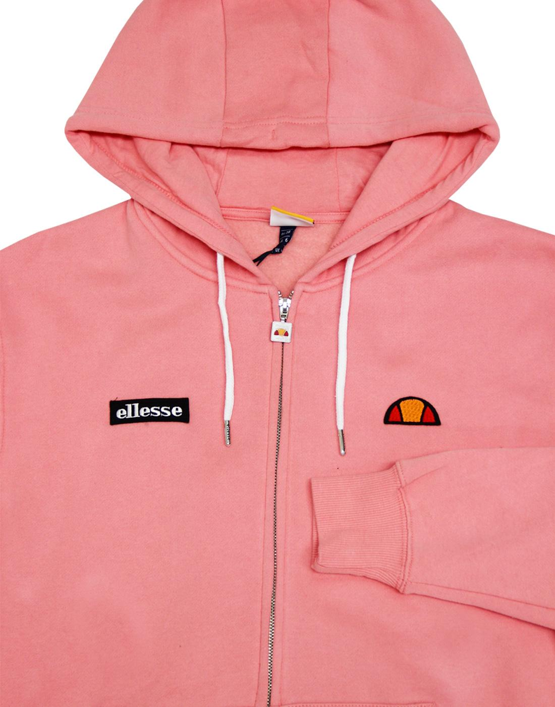 ec3db4b5 ELLESSE Womens Serinatas Retro 1970s Zip Thru Hoodie in Soft Pink