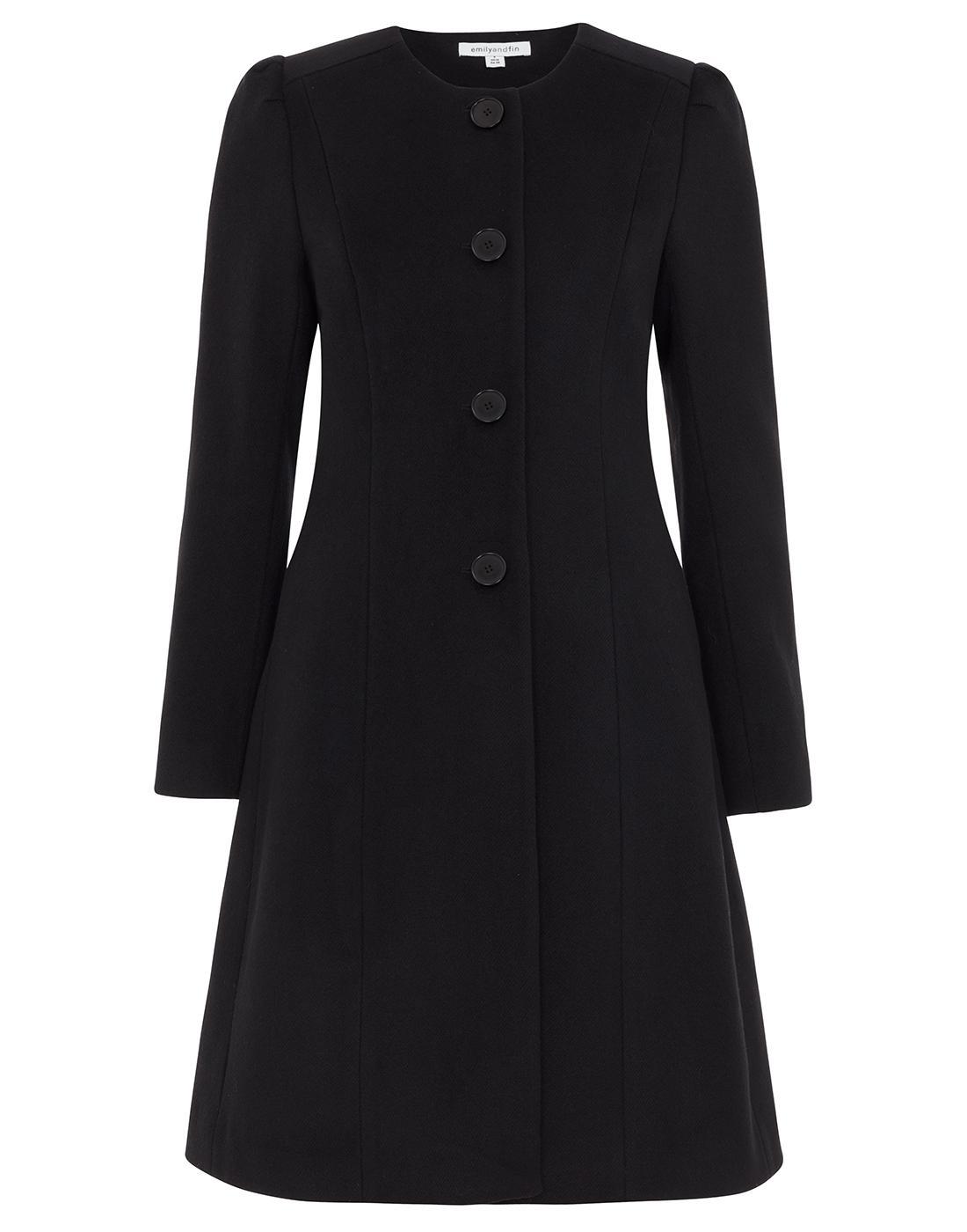 Amelia EMILY AND FIN Retro 60s Collarless Coat Blk