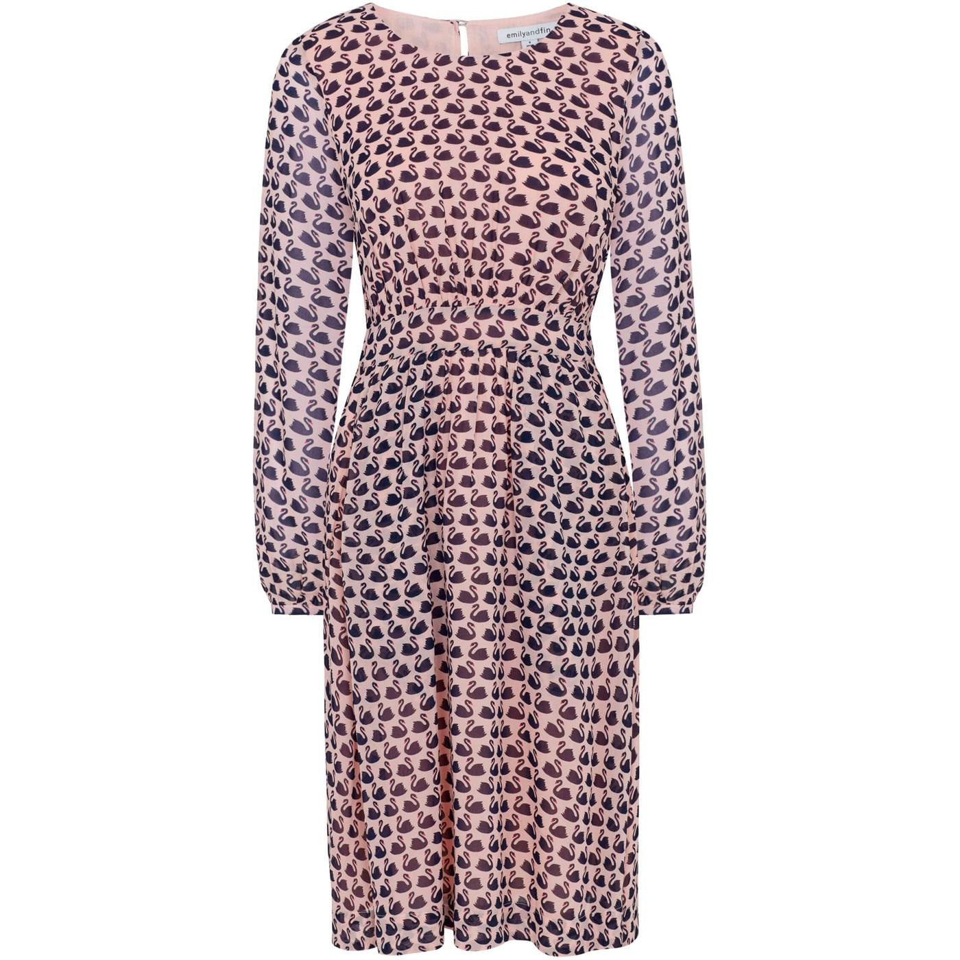 Amy EMILY & FIN Vintage Swans Printed Dress PINK
