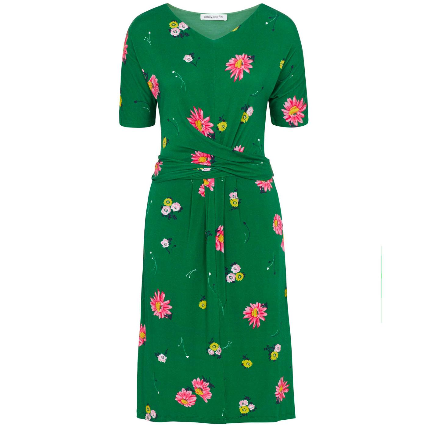 Mimi EMILY & FIN Retro Floral Midi Dress GREEN