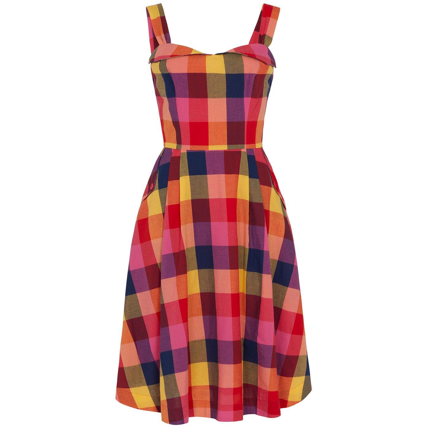 Pippa EMILY & FIN Retro Sunset Plaid Summer Dress