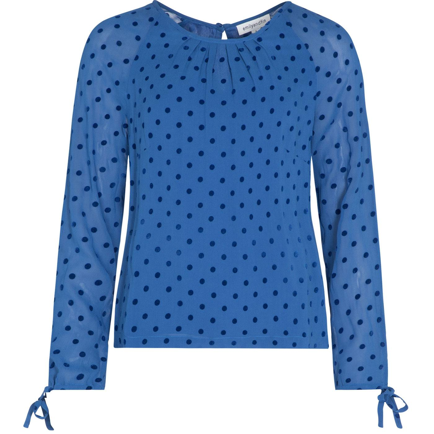 Stephy EMILY AND FIN Retro Flock Spot Top in Blue