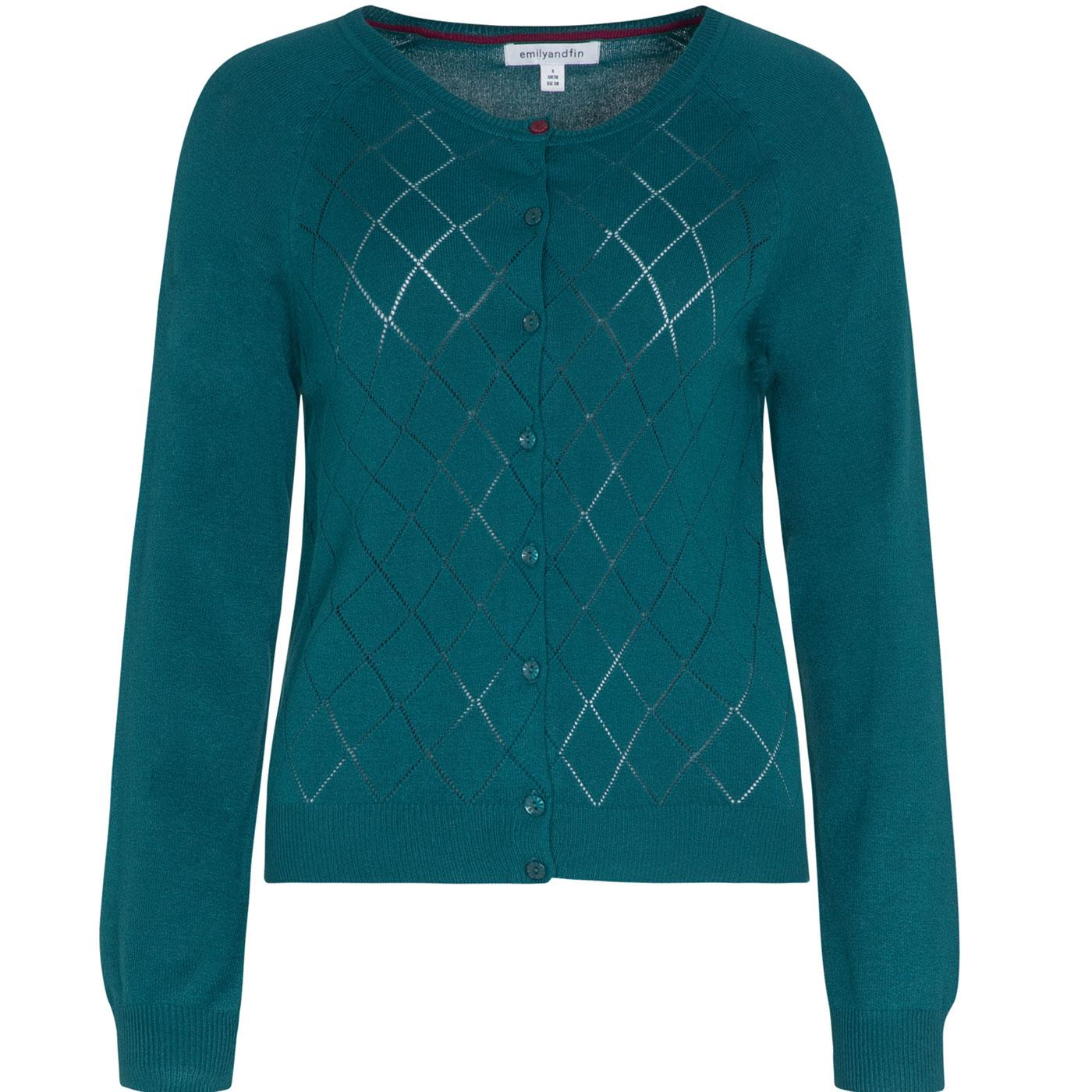 Tess EMILY AND FIN Argyle Pointelle Cardigan GREEN