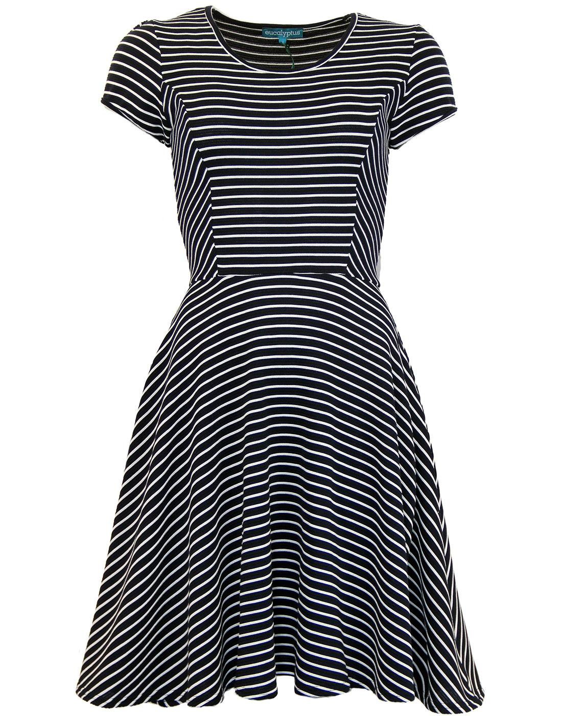 Sally EUCALYPTUS Retro 60s Mod Stripe Skater Dress