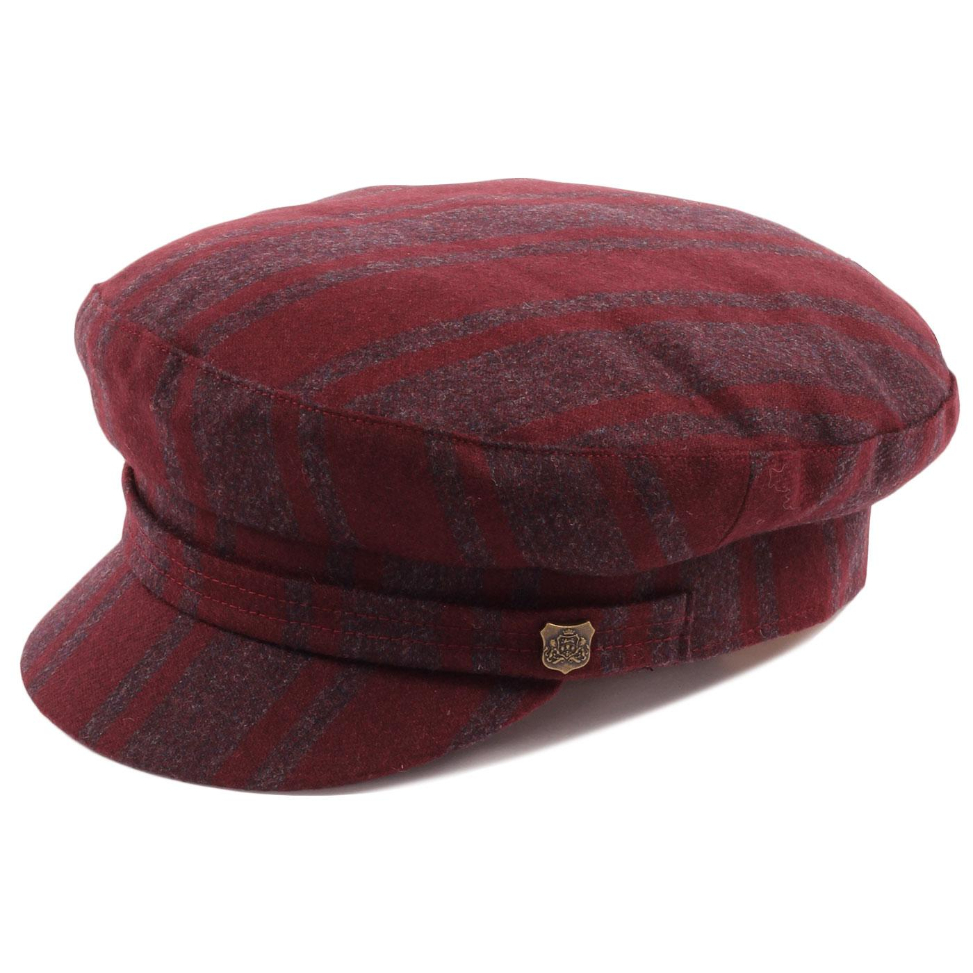 FAILSWORTH 60s Mod Camden Stripe Beatle Hat MERLOT