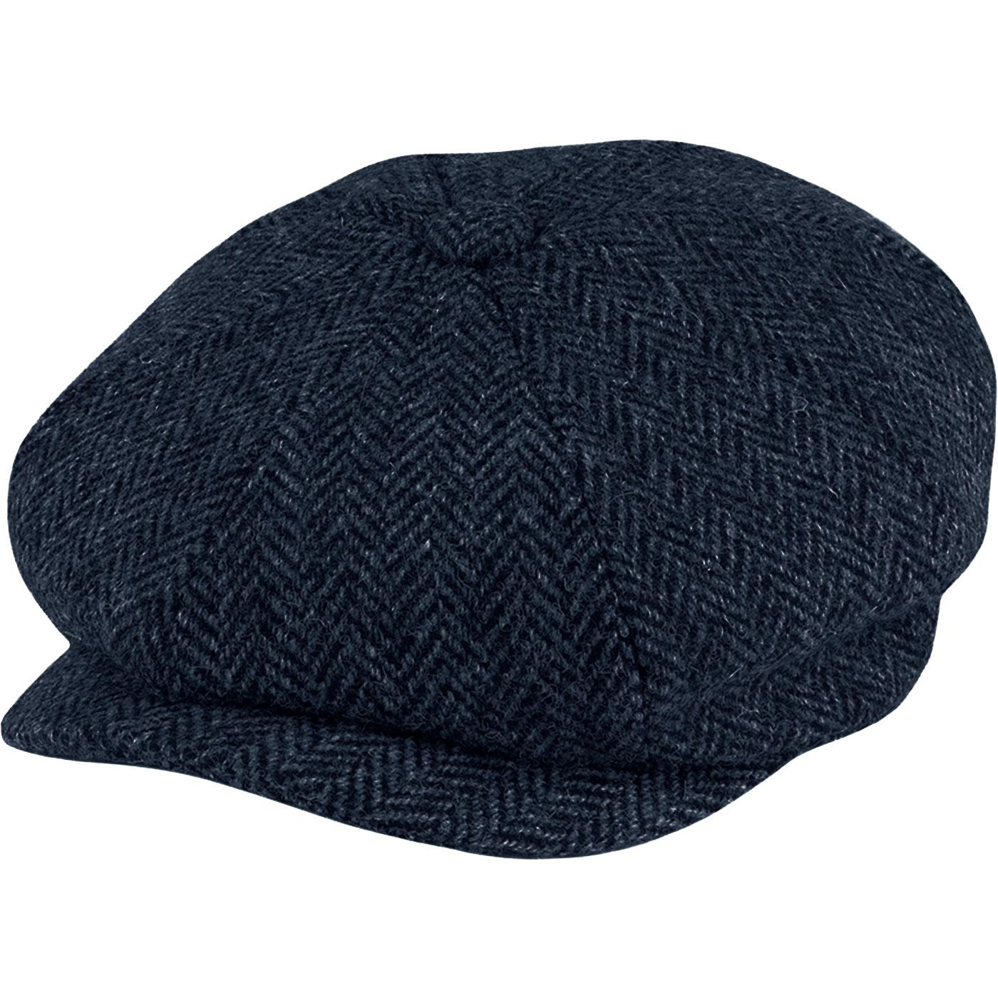 5ad91f73e9cc68 FAILSWORTH Carloway Harris Tweed Gatsby Cap in Navy