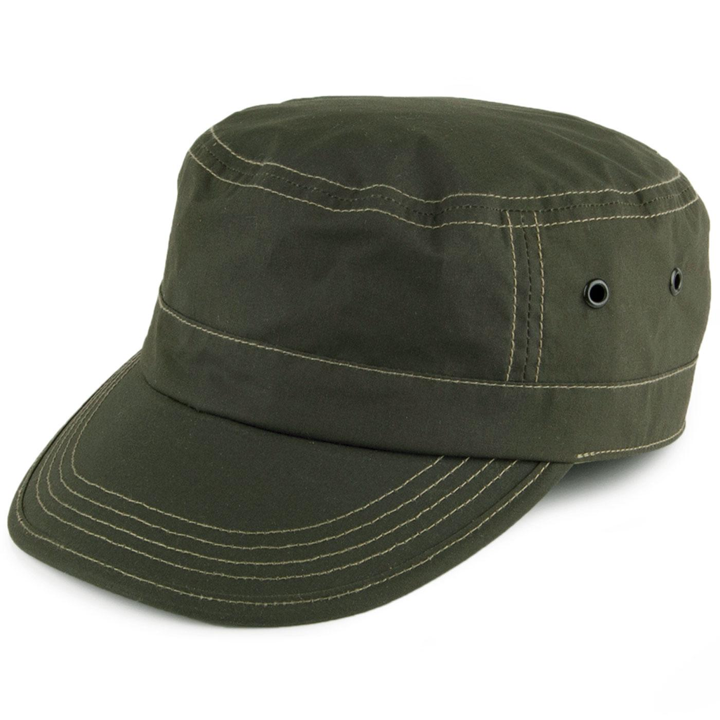 FAILSWORTH Retro Military Dry Wax Train Driver Cap in Olive 0952d524a7c