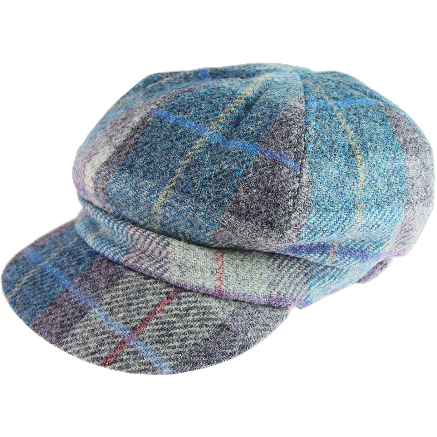 FAILSWORTH Women's Harris Tweed Bakerboy Cap BLUE
