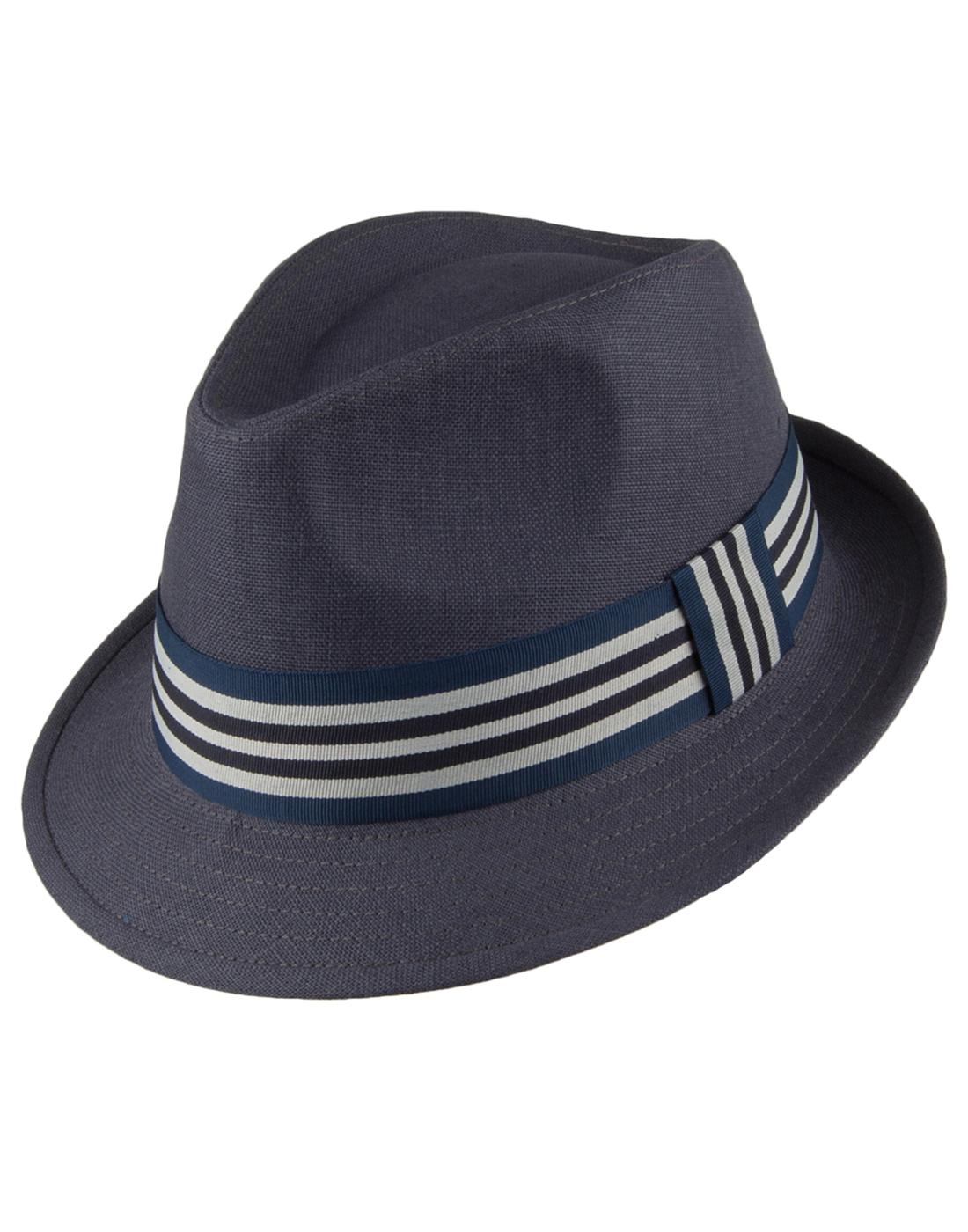 ec5bf841 FAILSWORTH Retro Irish Linen Summer Trilby Hat in Navy