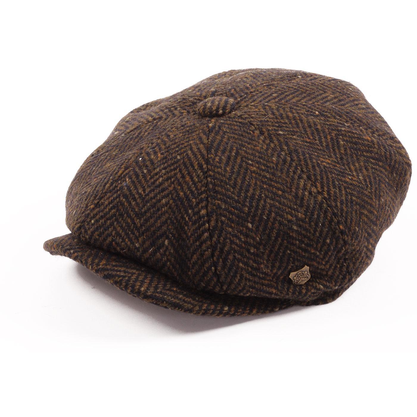Malmo FAILSWORTH Magee Tweed Bakerboy Cap BROWN