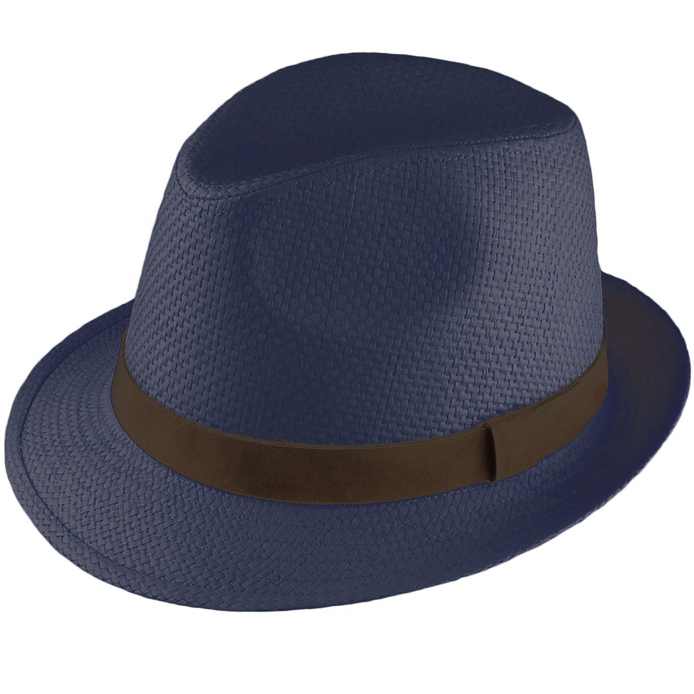 a8906ecc FAILSWORTH Men's Retro 70s Summer Straw Trilby Hat Navy