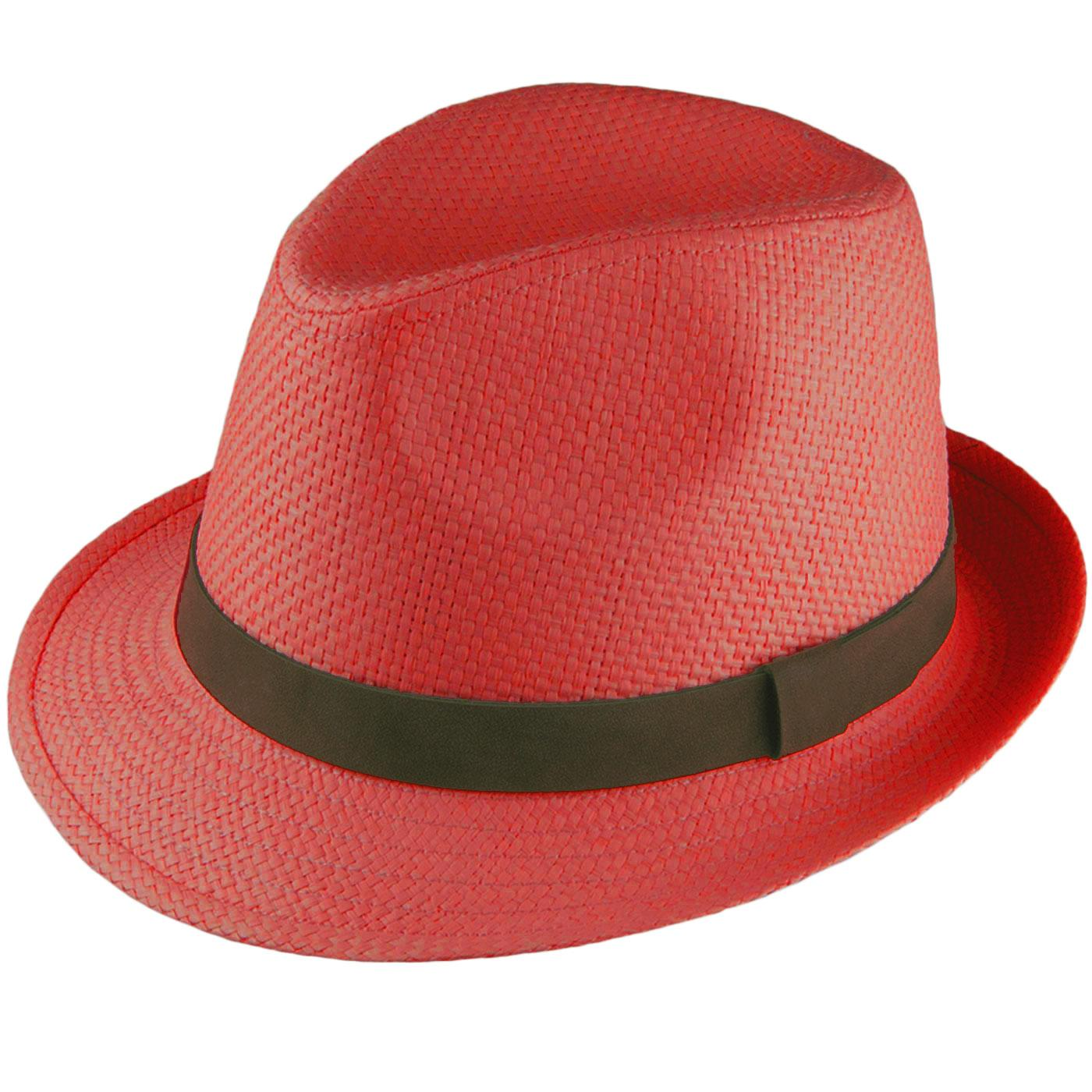 b90c89c1 FAILSWORTH Men's Retro 70s Summer Straw Trilby Hat Red