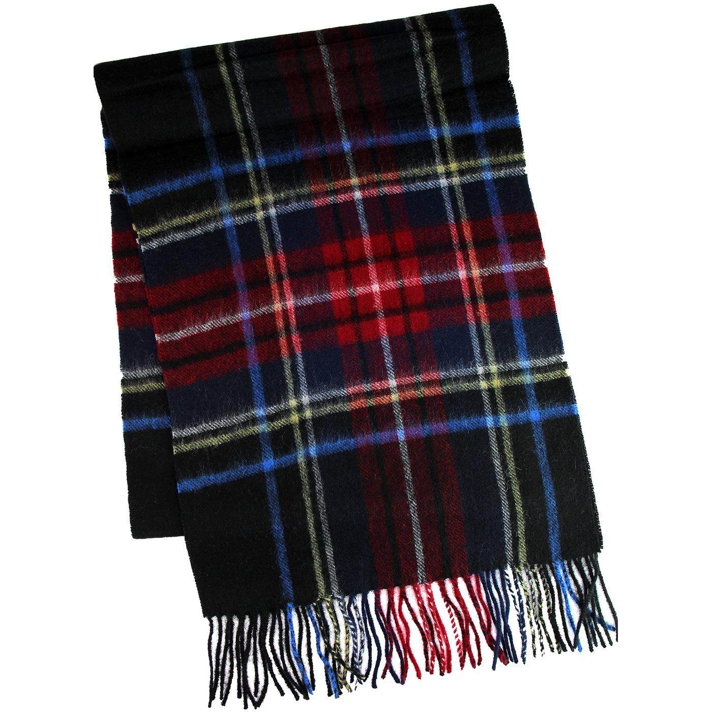 FAILSWORTH Lambswool Tartan Check Scarf NAVY