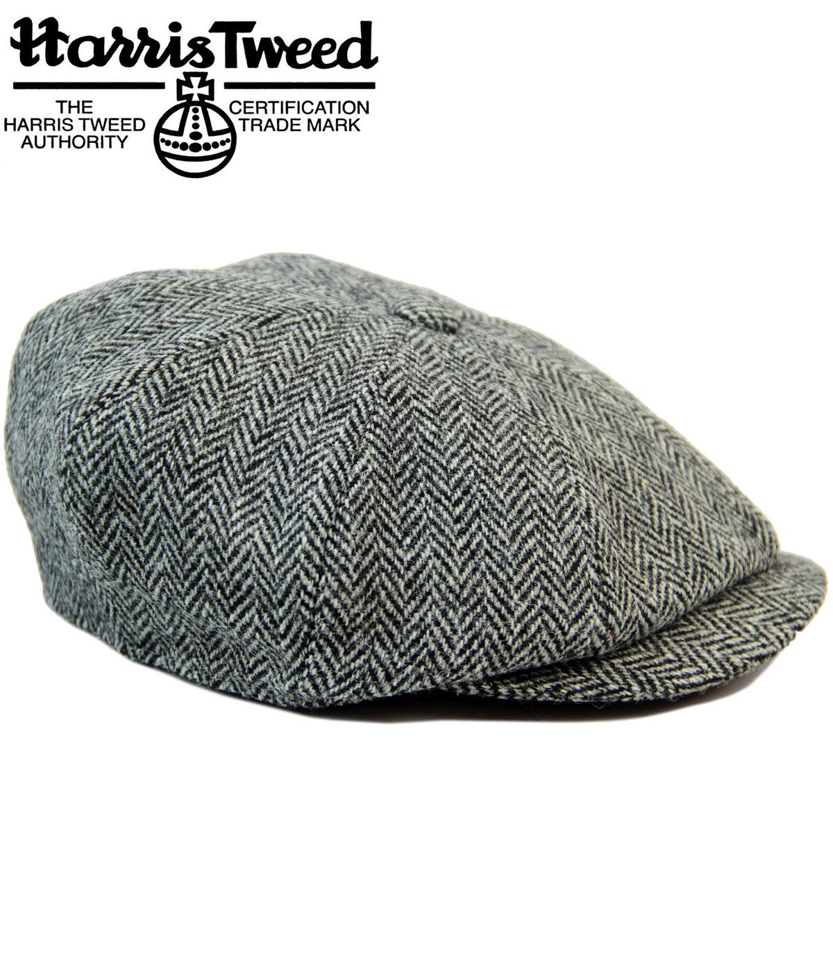 4f8fab896ac85f Carloway FAILSWORTH Harris Tweed Retro Gatsby Cap in Black