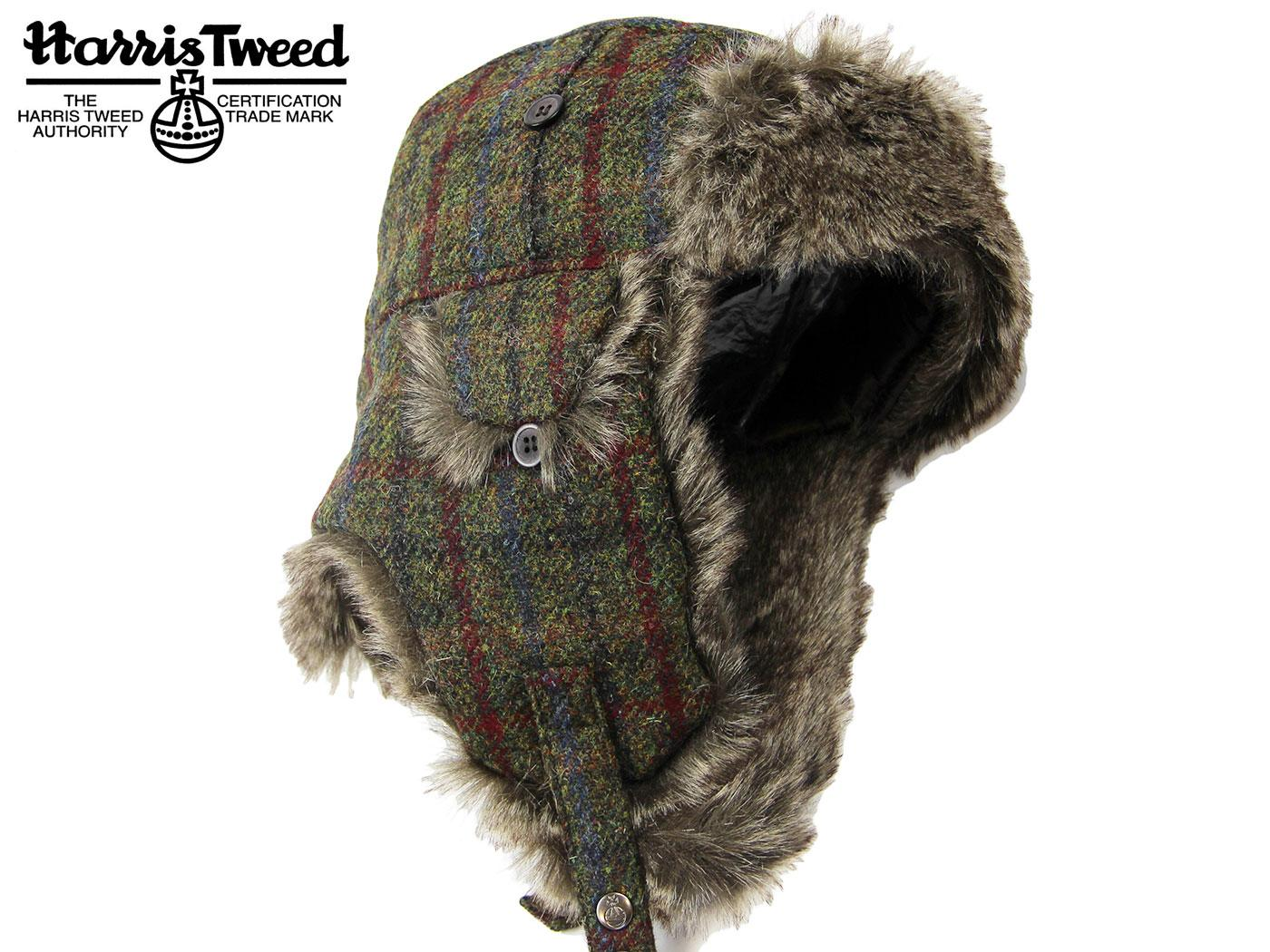 0150c77a70b Harris Tweed Check Retro 1970s Faux Fur Trim Trapper Hat in Green