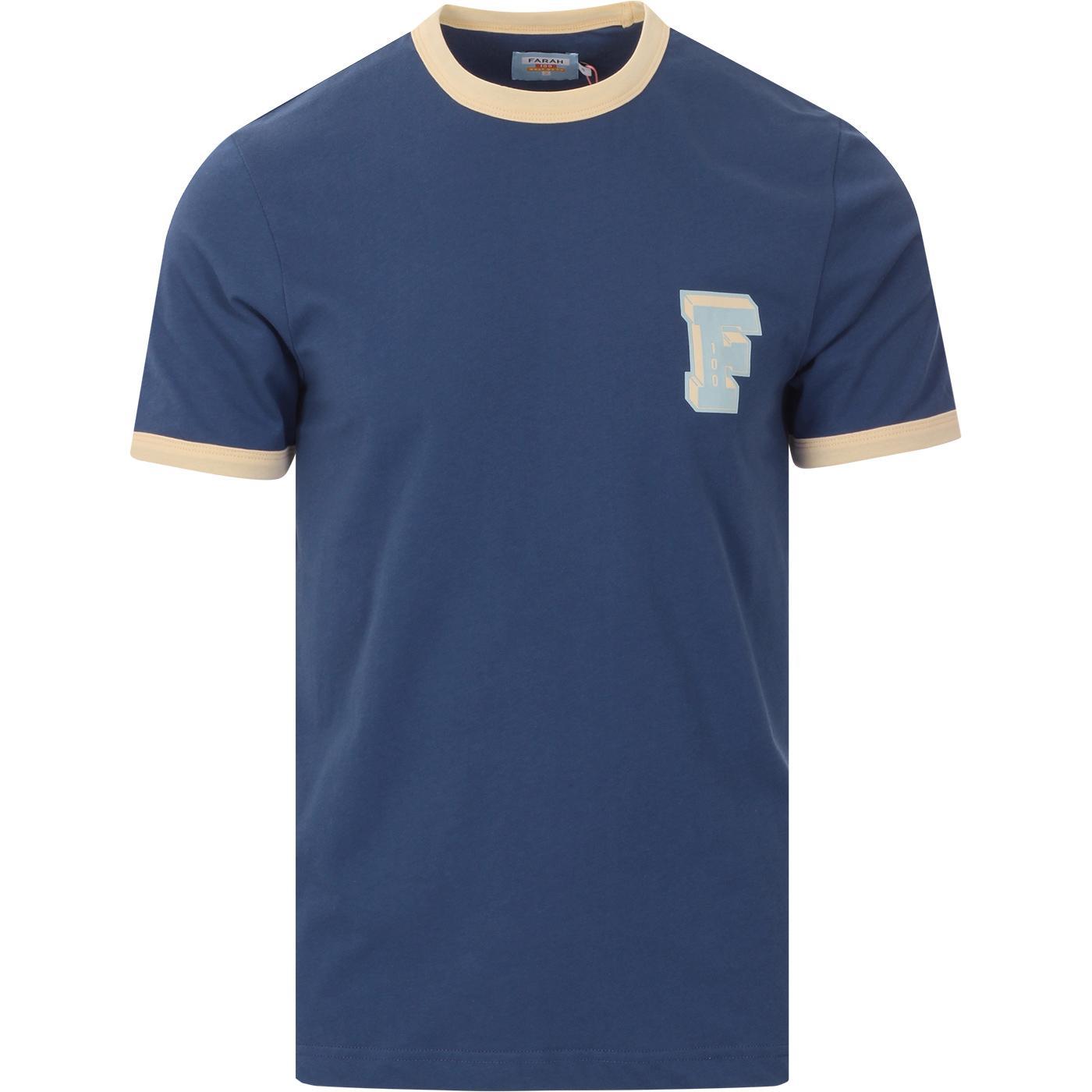 Bliss FARAH 100 Retro 70s Mod Ringer T-shirt (DB)