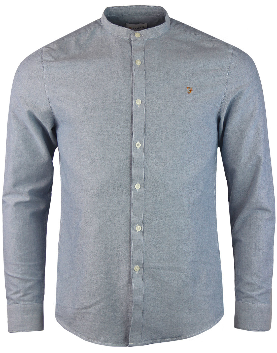 Brewer FARAH Mod L/S Grandad Collar Oxford Shirt