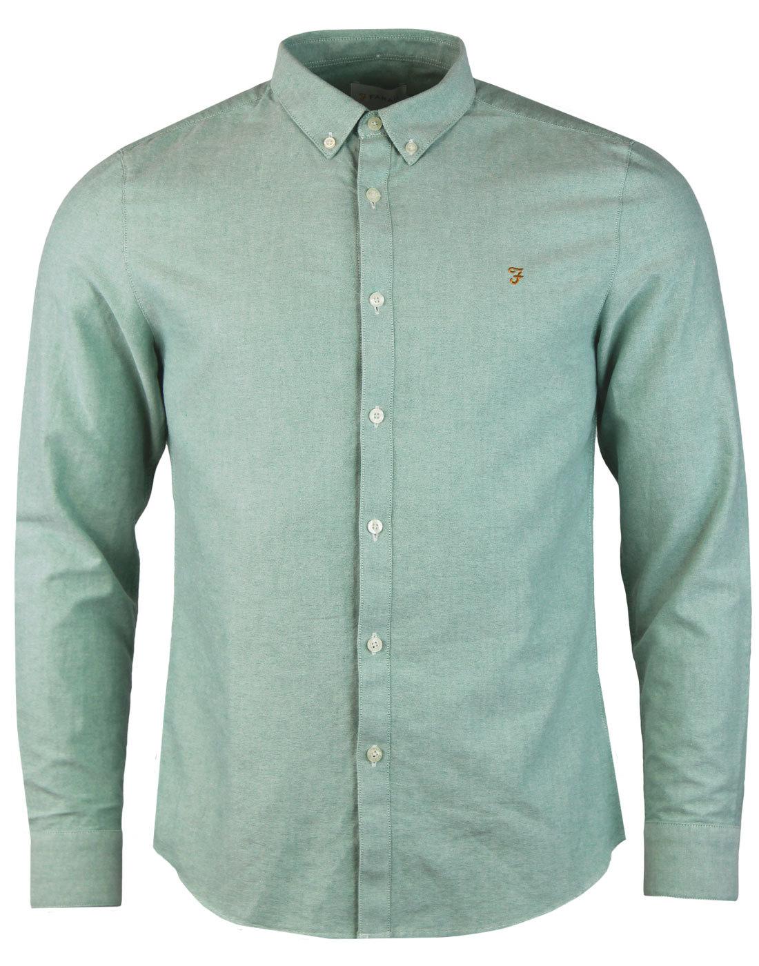 Brewer FARAH 1960s Mod Slim L/S Oxford Shirt PINE