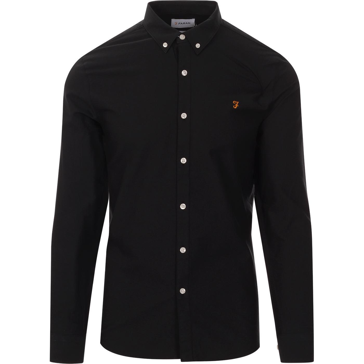 Brewer FARAH Slim Fit Mod L/S Oxford Shirt In Ink