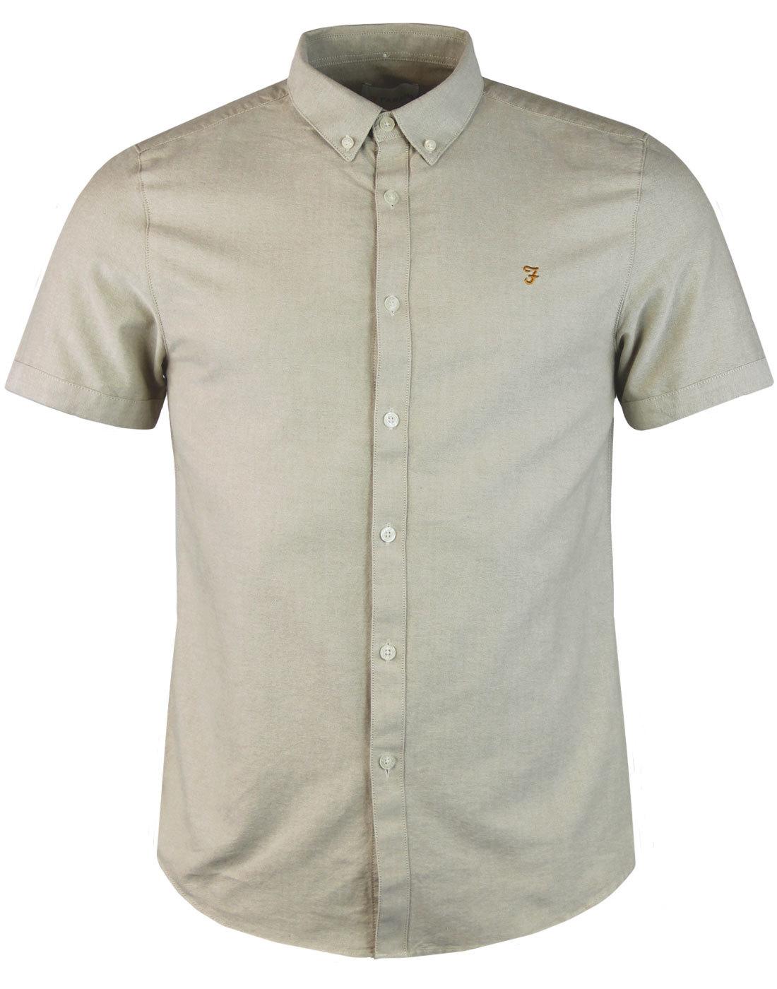 Brewer FARAH 60s Mod Slim S/S Oxford Shirt ALMOND