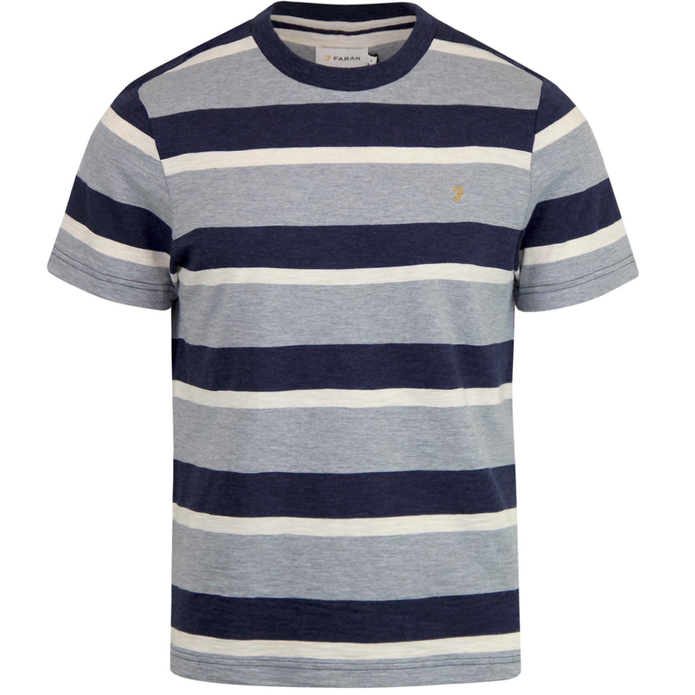 FARAH Mens Retro Mod Celtic Stripe Marl Tee SHADOW