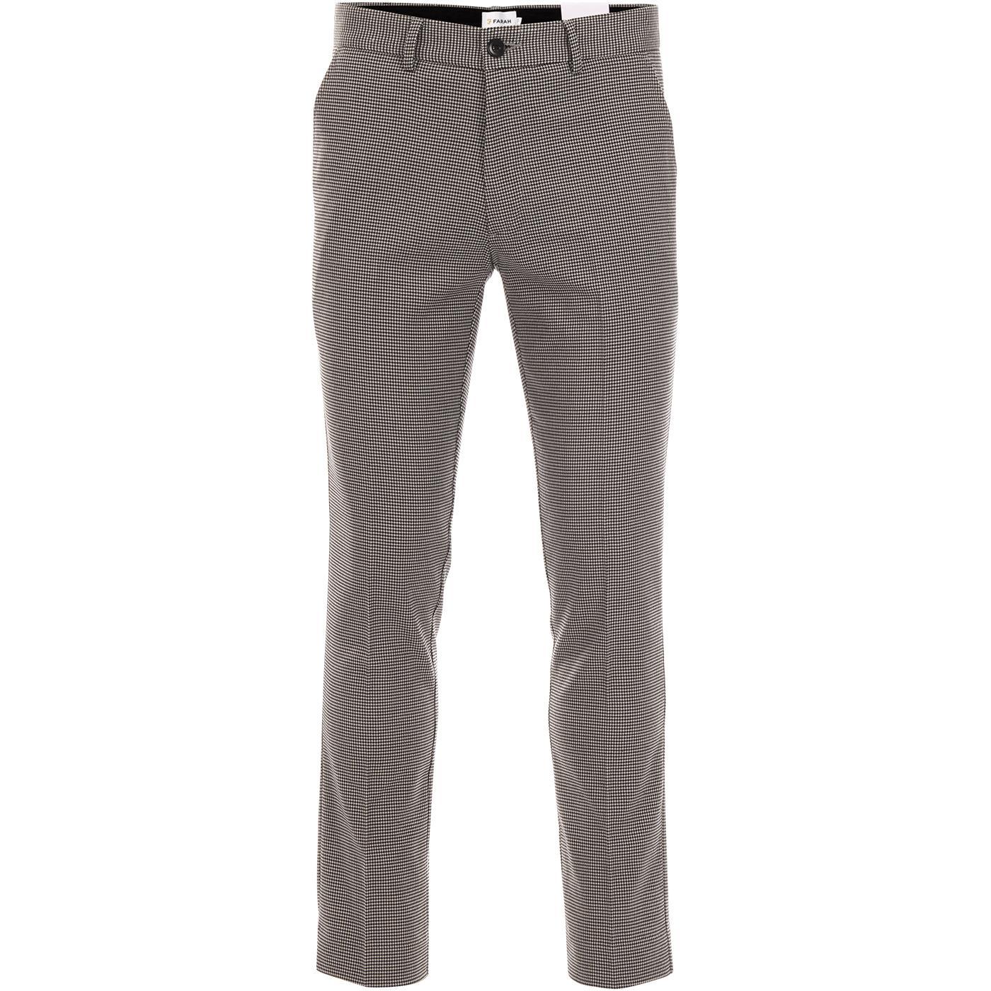 Elm FARAH Men's Retro Slim Leg Puppytooth Trousers