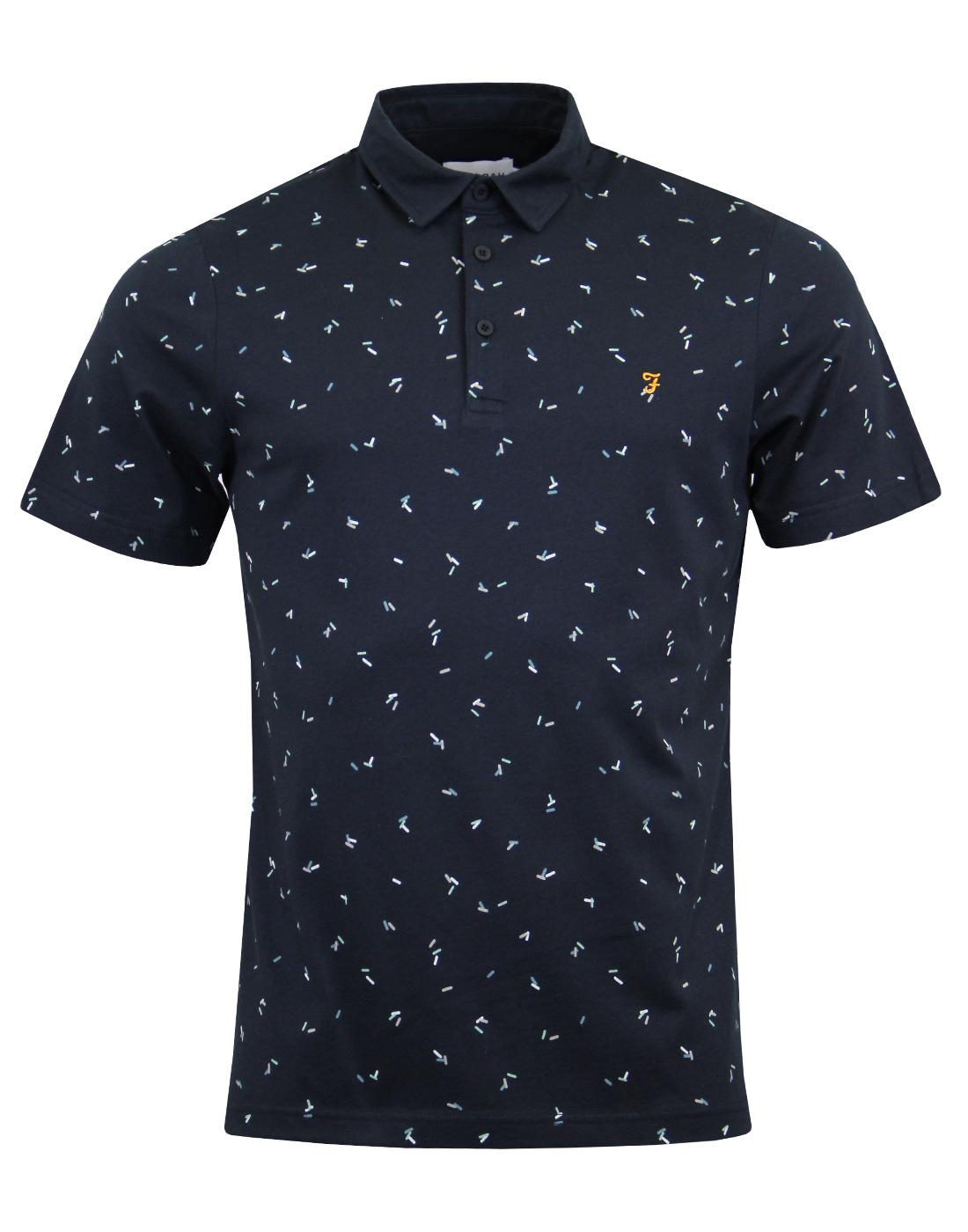 Chorlton FARAH Retro Mod Abstract Pill Print Polo