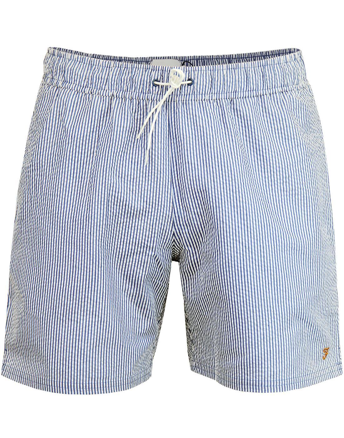 Colbert FARAH Retro Seersucker Stripe Swim Shorts