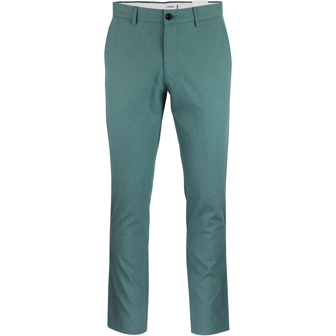 Elm FARAH Retro Mod Slim Hopsack Trousers (Green)