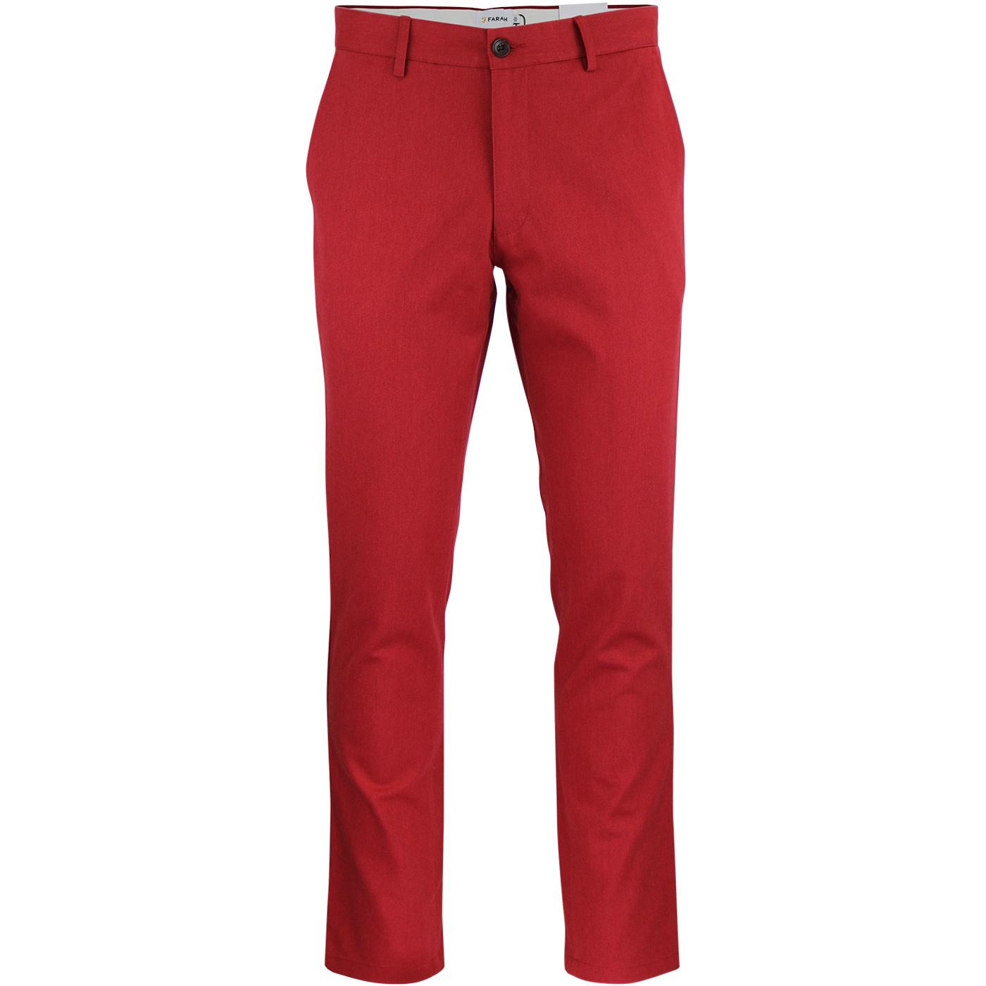 Elm FARAH Retro Mod Slim Hopsack Trousers (Fire)