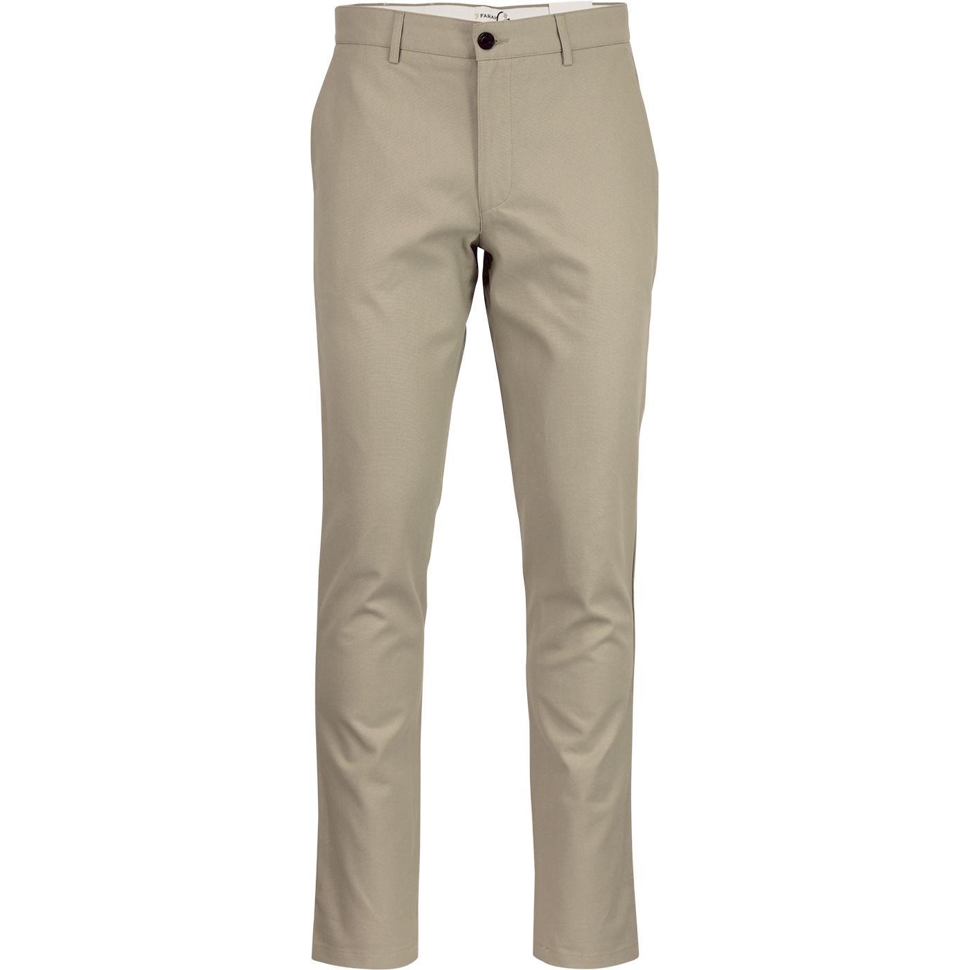 Elm FARAH 60s Mod Slim Hopsack Trousers SANDSTONE