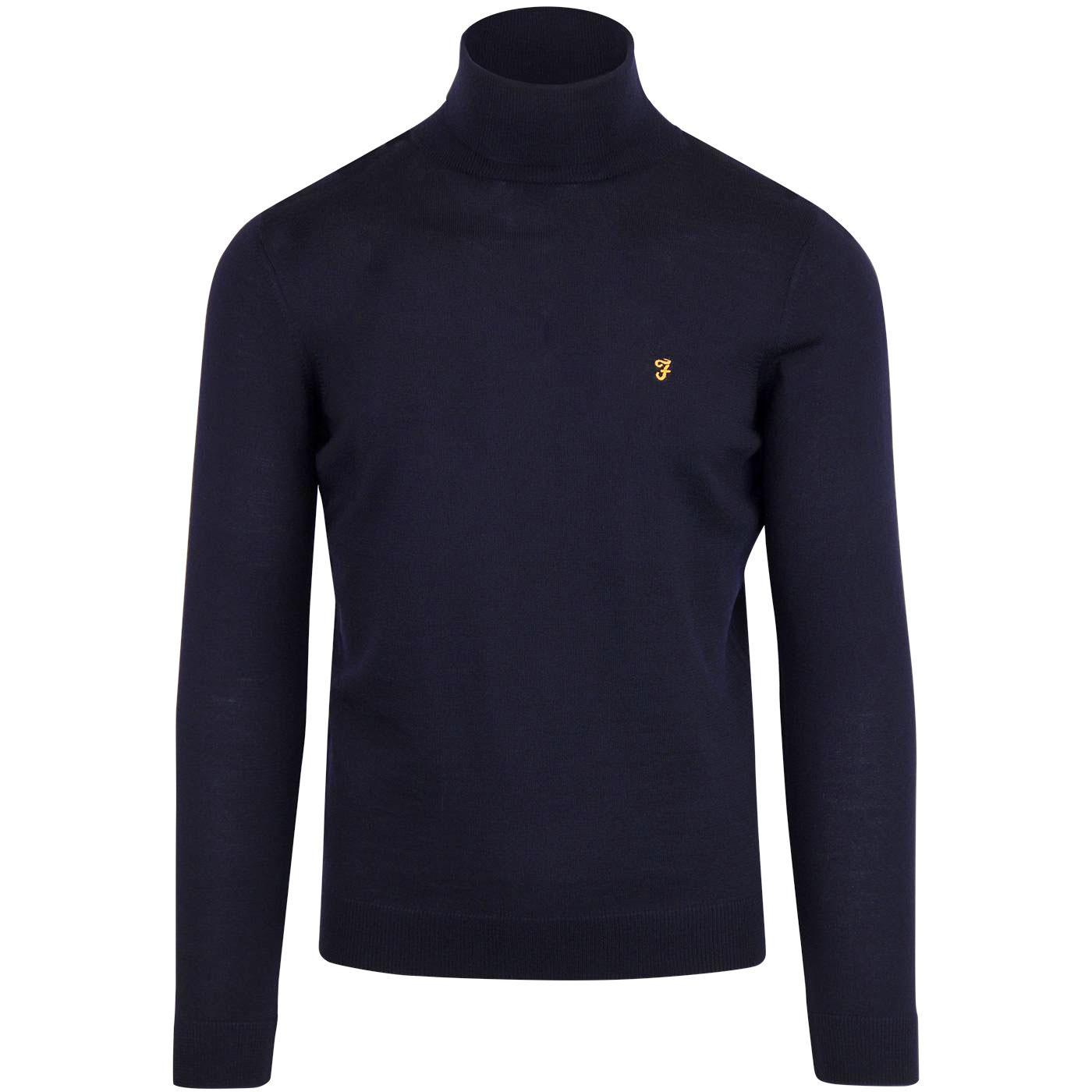Gosforth FARAH 60s Mod Roll Neck Jumper TRUE NAVY