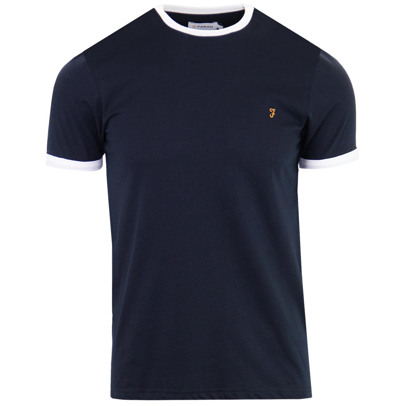 Groves FARAH Mens Retro Mod Ringer Tee (True Navy)