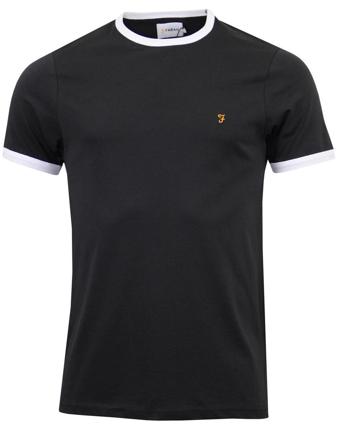 The Groves FARAH Retro Mod Ringer T-shirt - Black