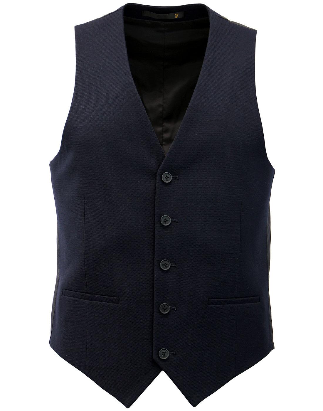 Hampton FARAH Retro 60s Mod Hopsack Slim Waistcoat