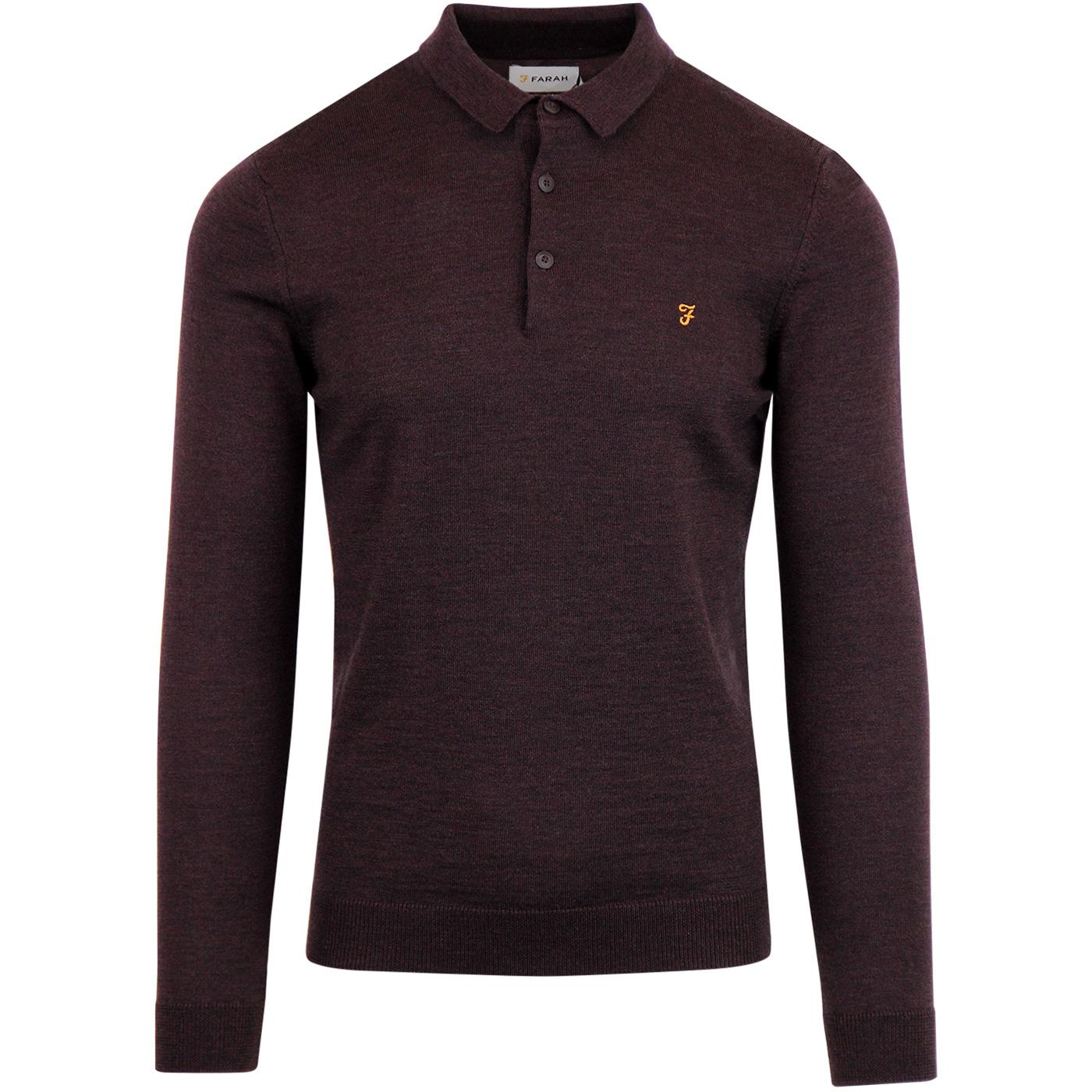 Maidwell FARAH 60's Mod Knitted Wool Polo BORDEAUX
