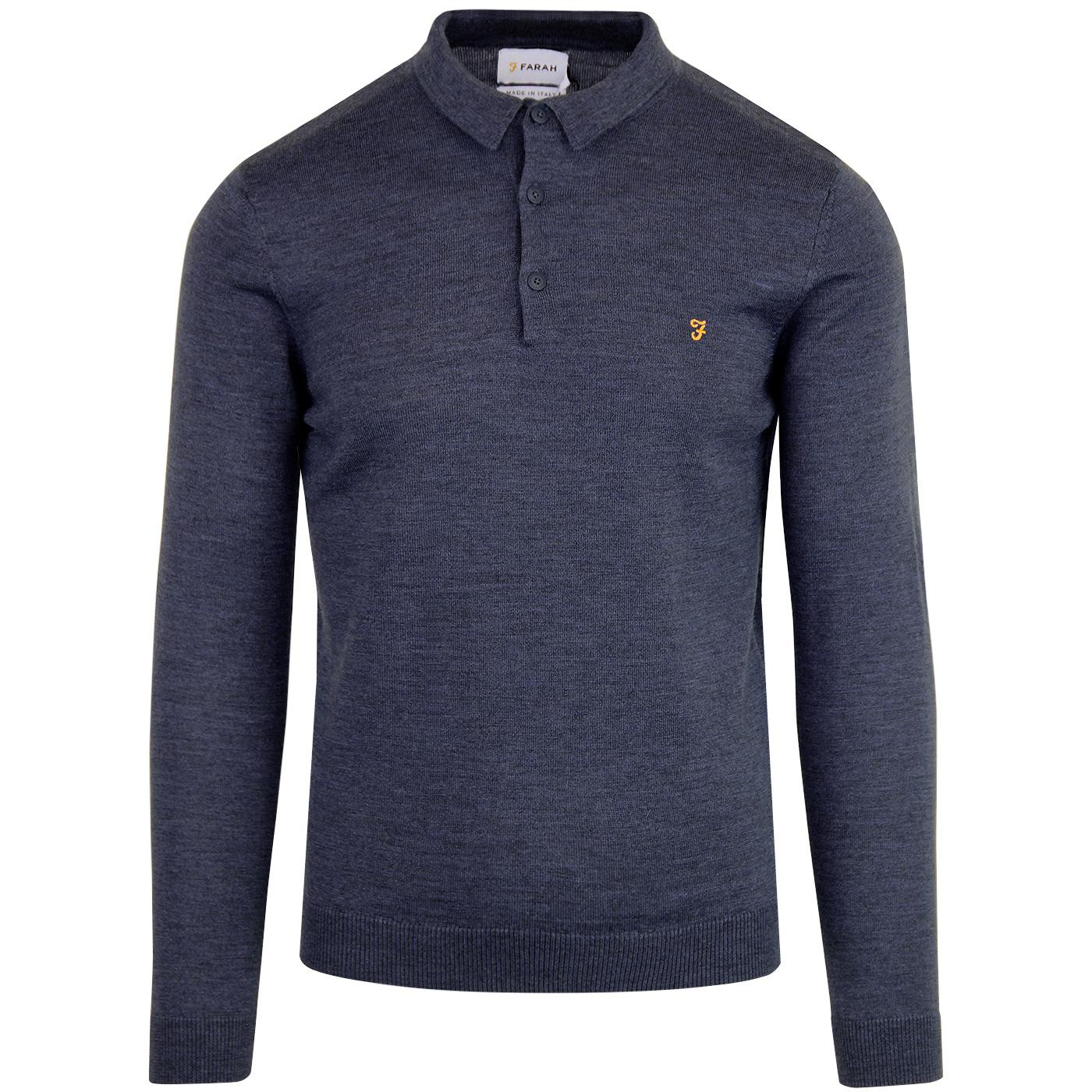 Maidwell FARAH 60s Mod Knitted Wool Polo BLUE MARL