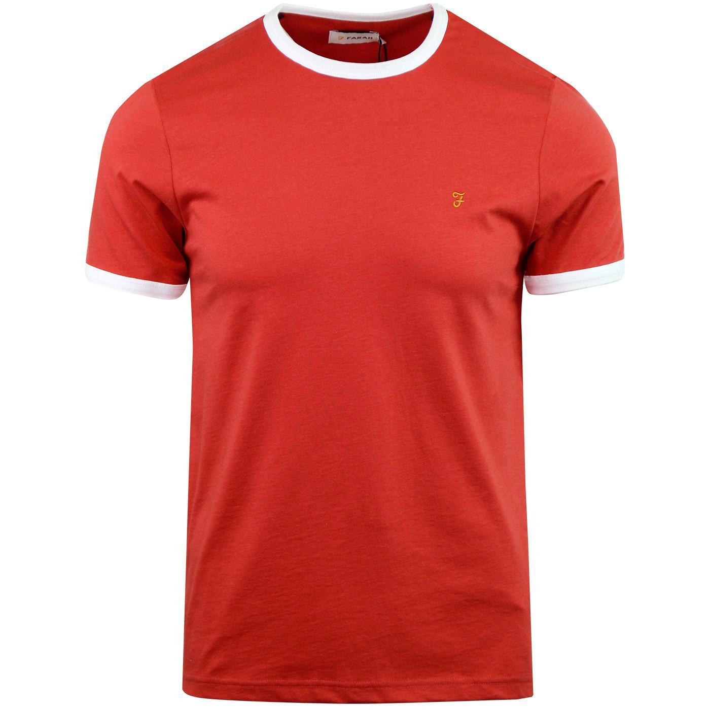 Groves FARAH Retro Mod Ringer T-shirt - Red Coat