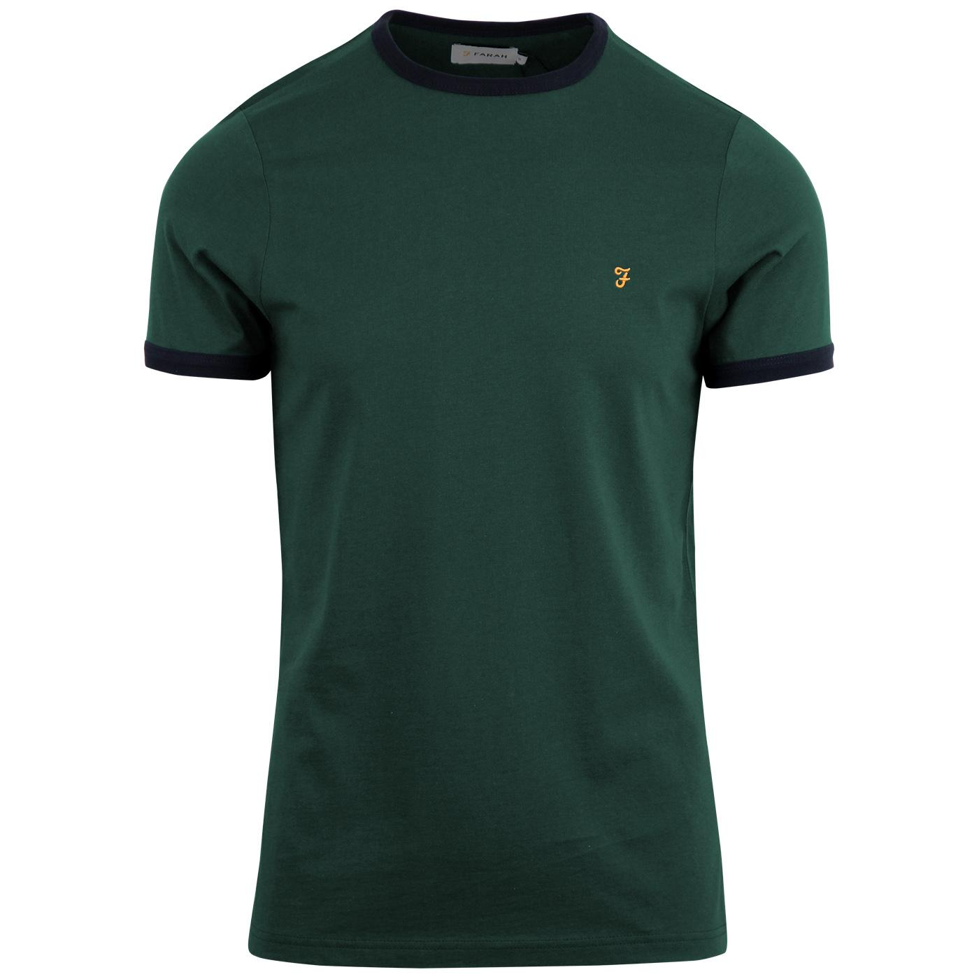 Groves FARAH Retro Mod Ringer Tee - Dark Teal