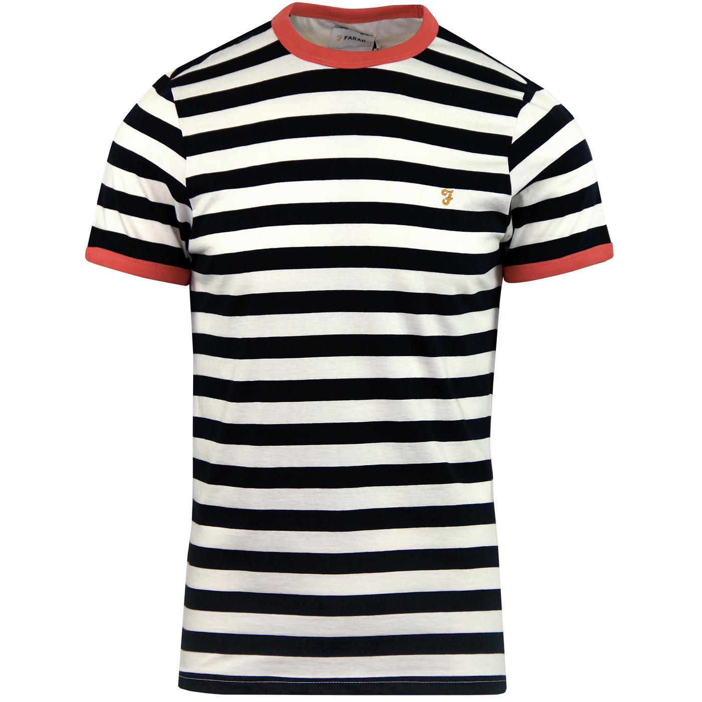 Belgrove FARAH Mens Retro Mod Striped T-Shirt (RC)