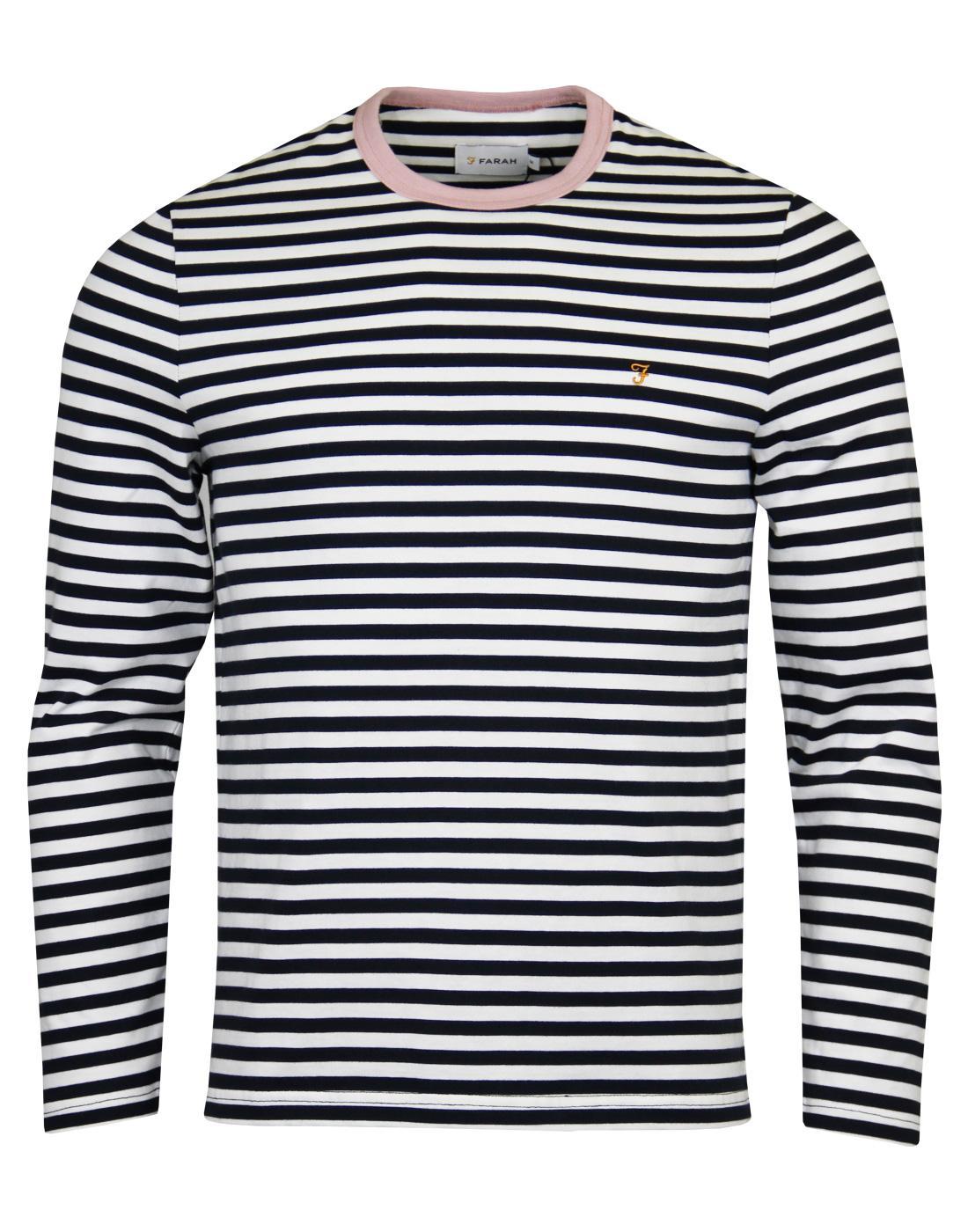 Trafford FARAH Retro Mod LS Stripe Ringer T-shirt